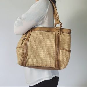 FOSSIL Woven & Leather Shoulder Tote Bag